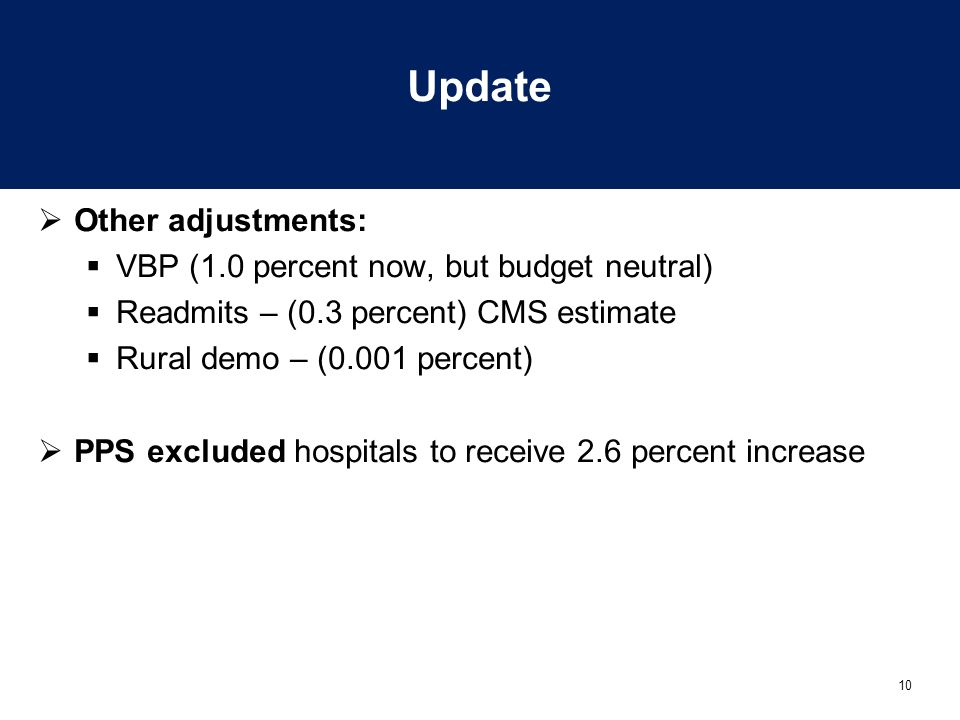 Update Other adjustments: VBP (1.0 percent now, but budget neutral)