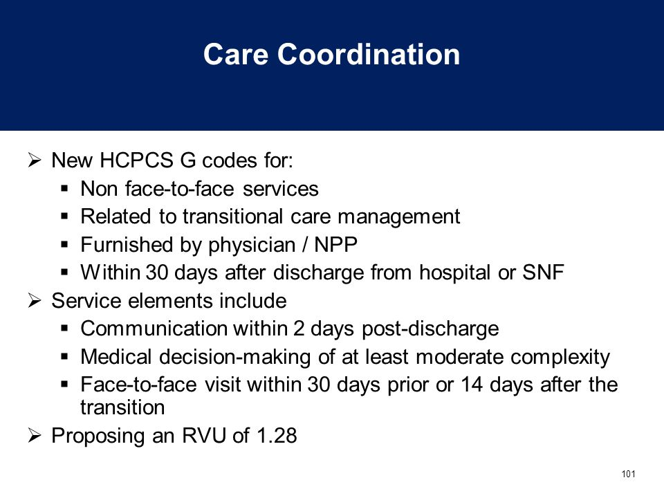 Care Coordination New HCPCS G codes for: Non face-to-face services