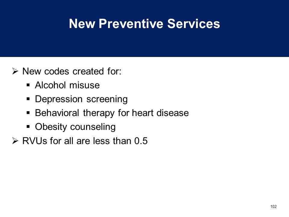 New Preventive Services