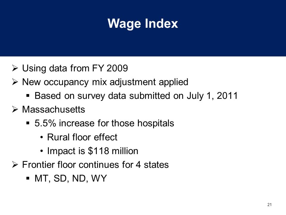 Wage Index Using data from FY 2009