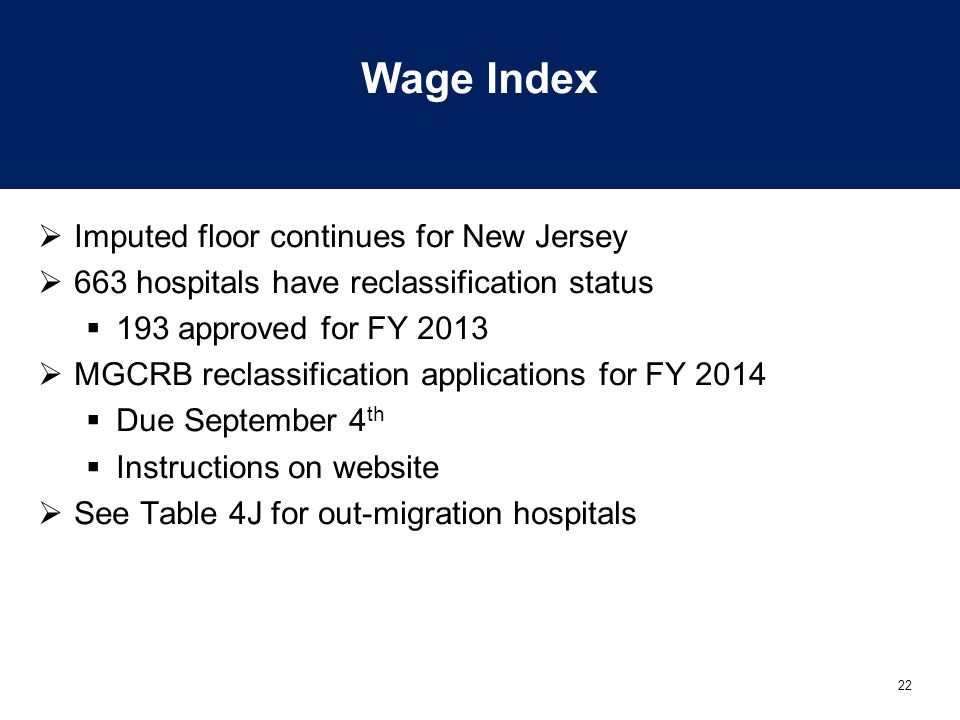 Wage Index Imputed floor continues for New Jersey