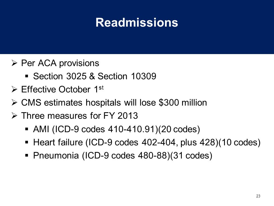 Readmissions Per ACA provisions Section 3025 & Section 10309