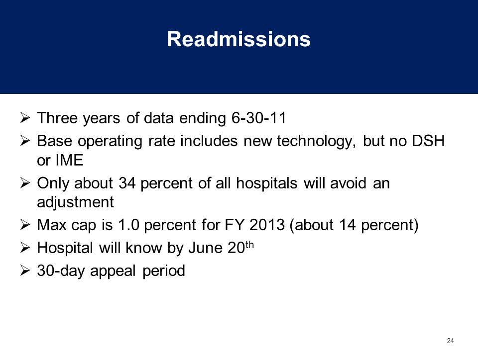 Readmissions Three years of data ending 6-30-11