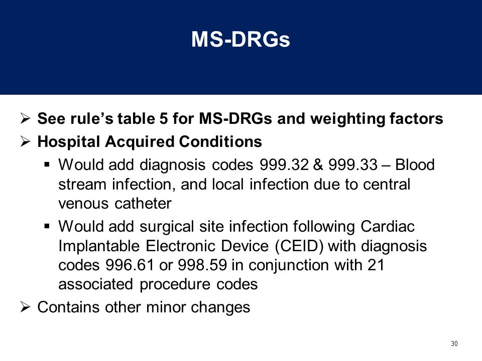 MS-DRGs See rule's table 5 for MS-DRGs and weighting factors