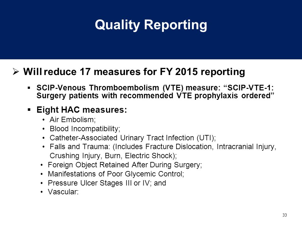 Quality Reporting Will reduce 17 measures for FY 2015 reporting