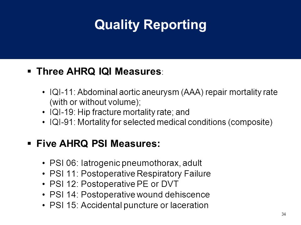 Quality Reporting Three AHRQ IQI Measures: Five AHRQ PSI Measures: