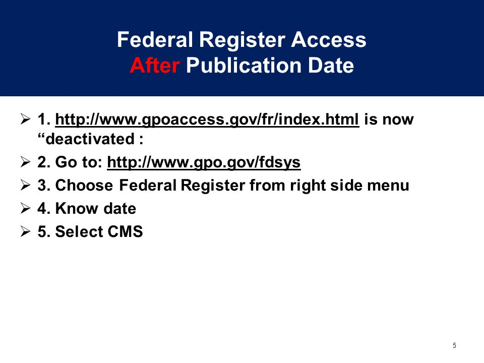 Federal Register Access After Publication Date