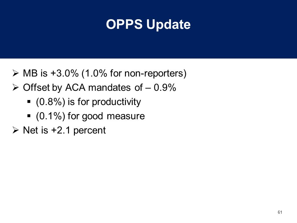 OPPS Update MB is +3.0% (1.0% for non-reporters)