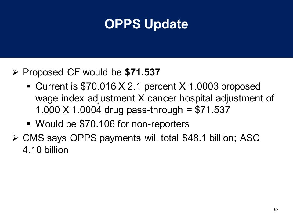 OPPS Update Proposed CF would be $71.537