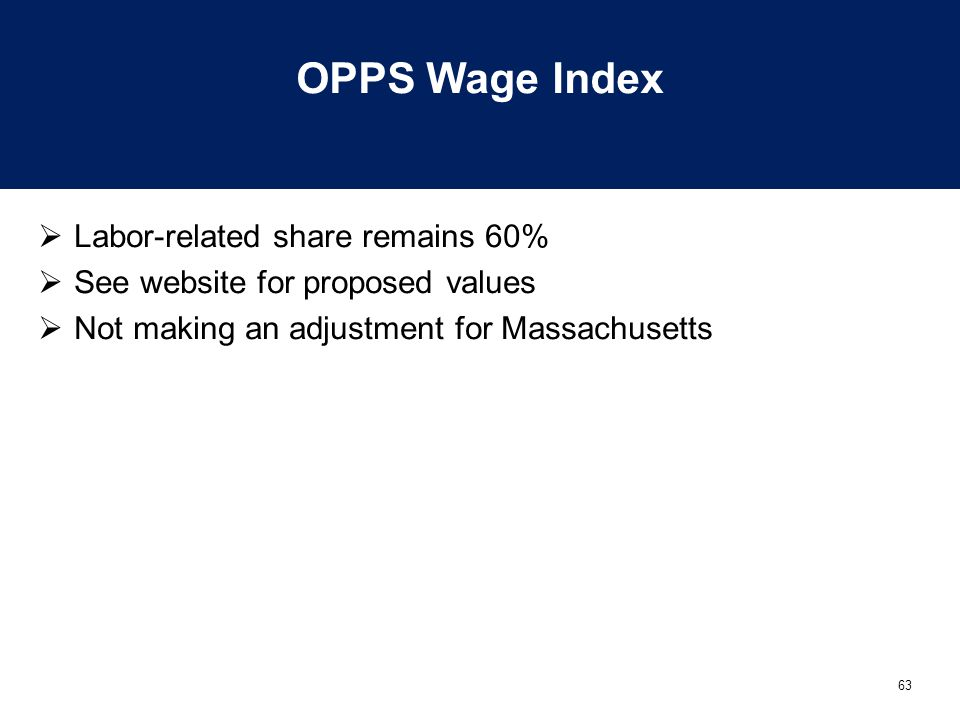 OPPS Wage Index Labor-related share remains 60%