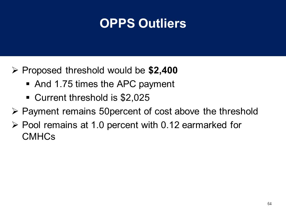 OPPS Outliers Proposed threshold would be $2,400