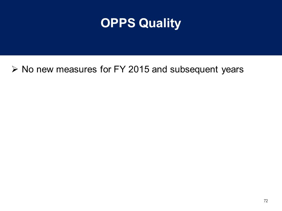 OPPS Quality No new measures for FY 2015 and subsequent years