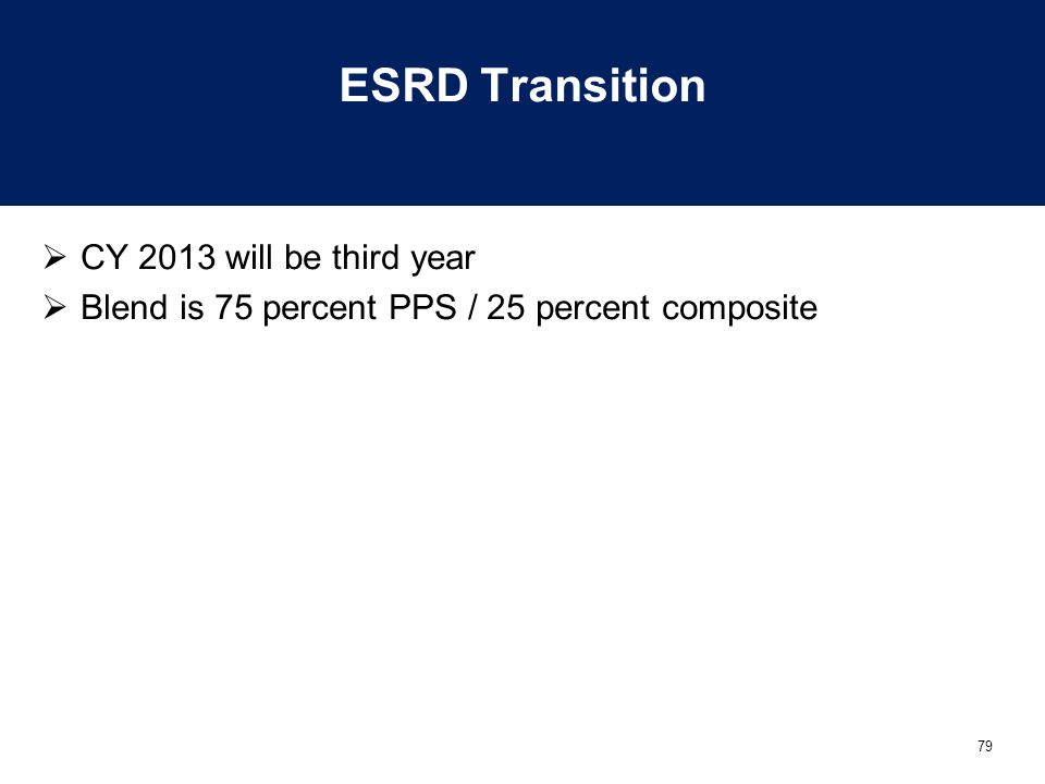 ESRD Transition CY 2013 will be third year