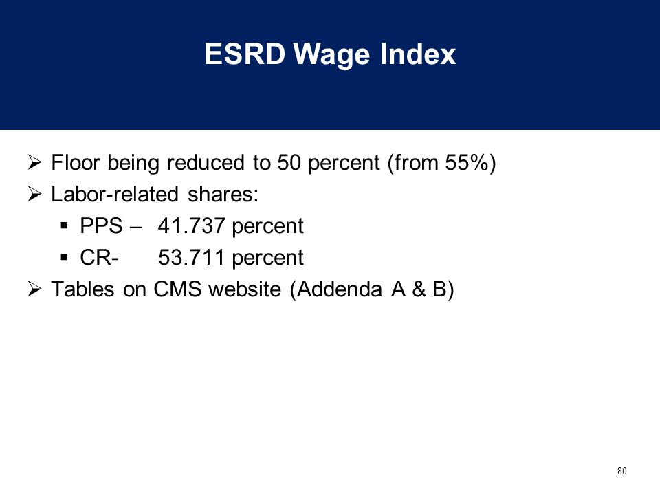 ESRD Wage Index Floor being reduced to 50 percent (from 55%)