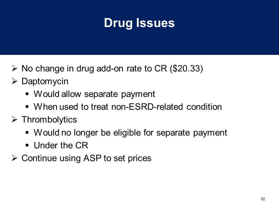 Drug Issues No change in drug add-on rate to CR ($20.33) Daptomycin