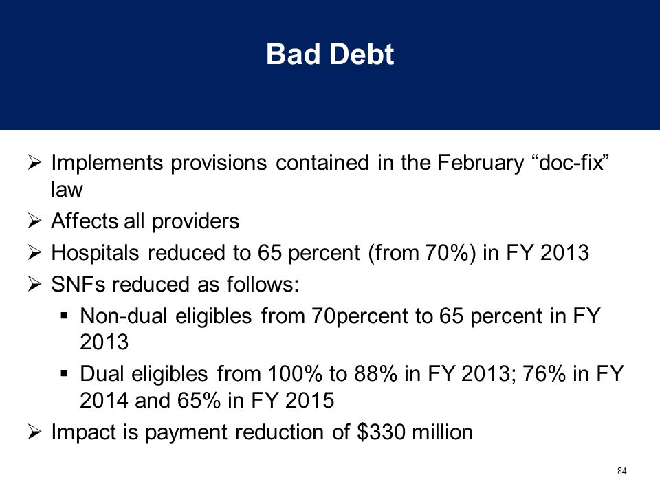 Bad Debt Implements provisions contained in the February doc-fix law