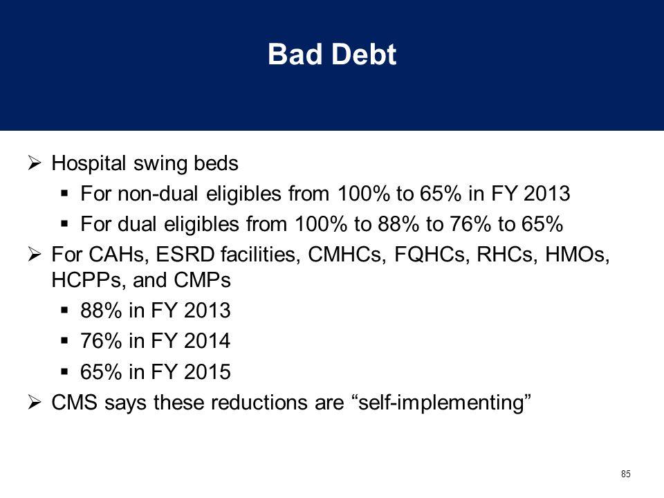 Bad Debt Hospital swing beds
