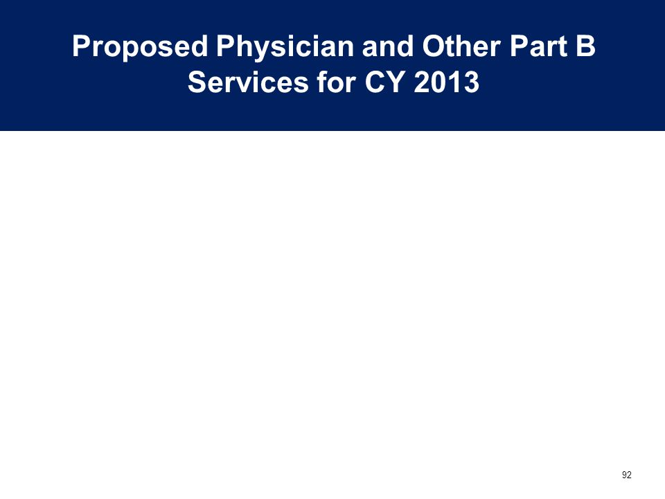 Proposed Physician and Other Part B Services for CY 2013