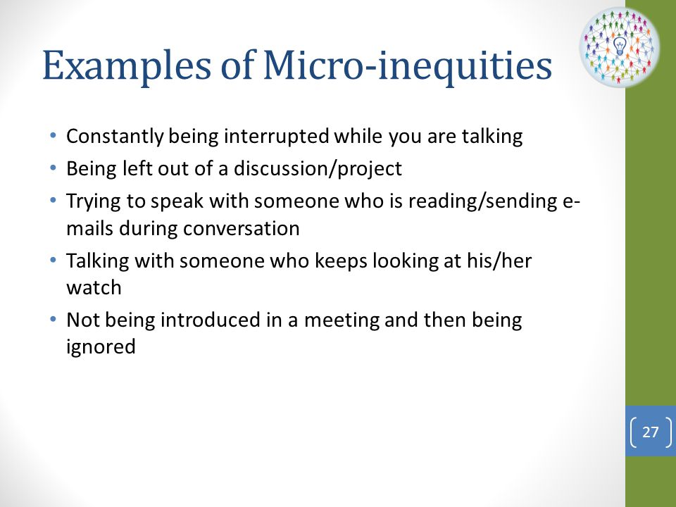 Examples of Micro-inequities