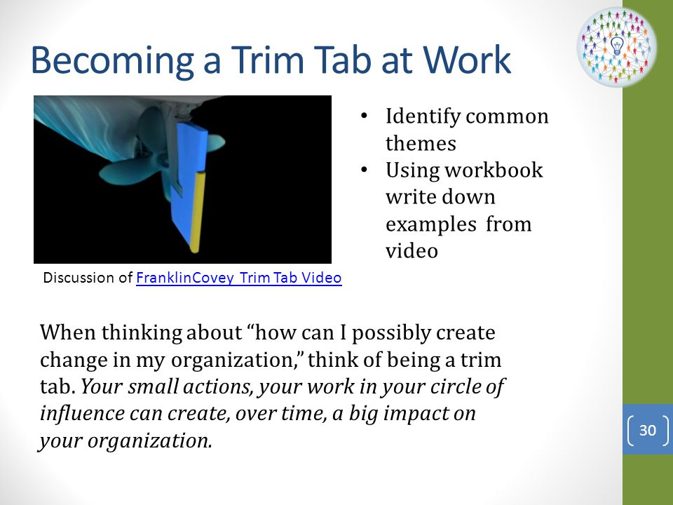 Becoming a Trim Tab at Work