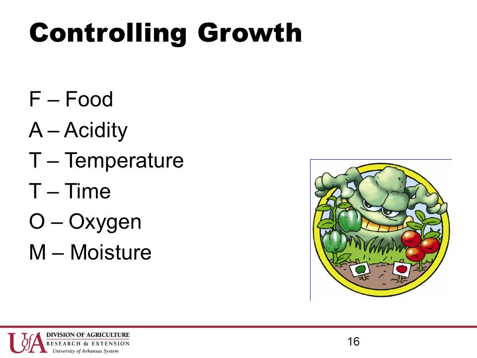 Controlling Growth F – Food A – Acidity T – Temperature T – Time O – Oxygen M – Moisture Controlling Growth.