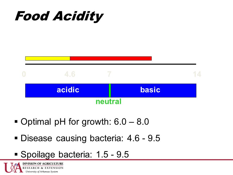 Food Acidity Optimal pH for growth: 6.0 – 8.0
