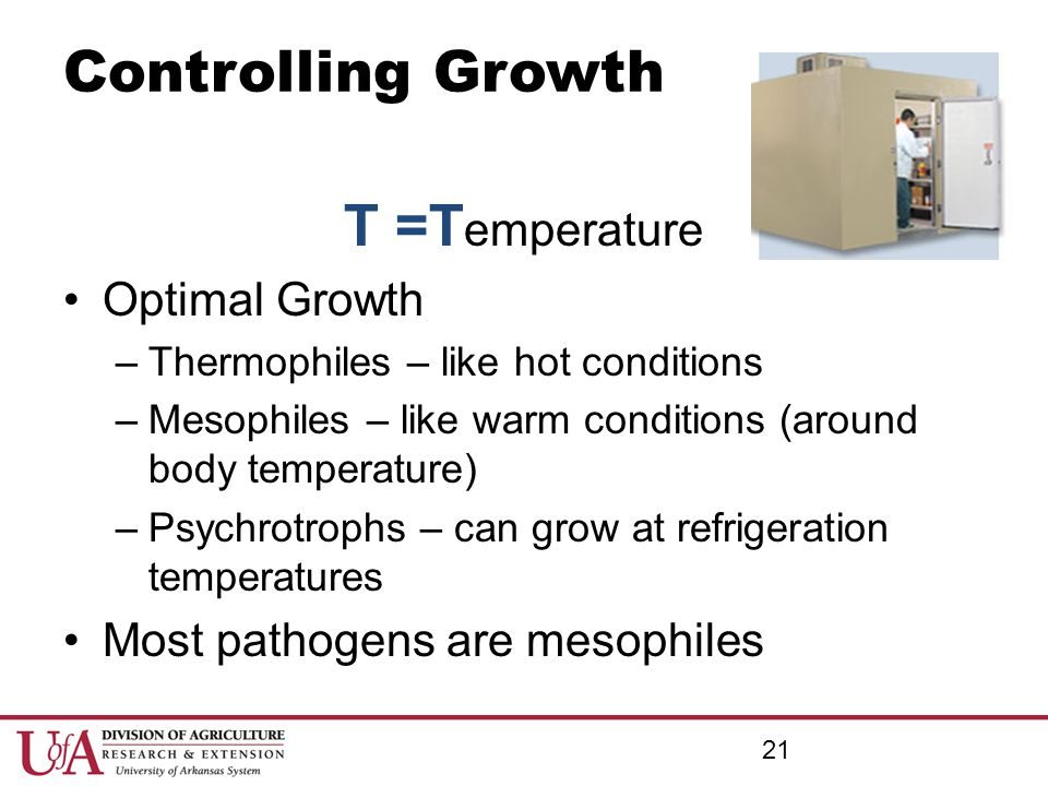 Controlling Growth T =Temperature Optimal Growth