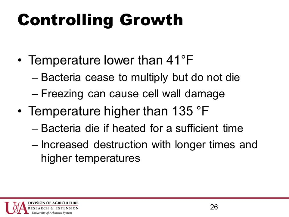 Controlling Growth Temperature lower than 41°F