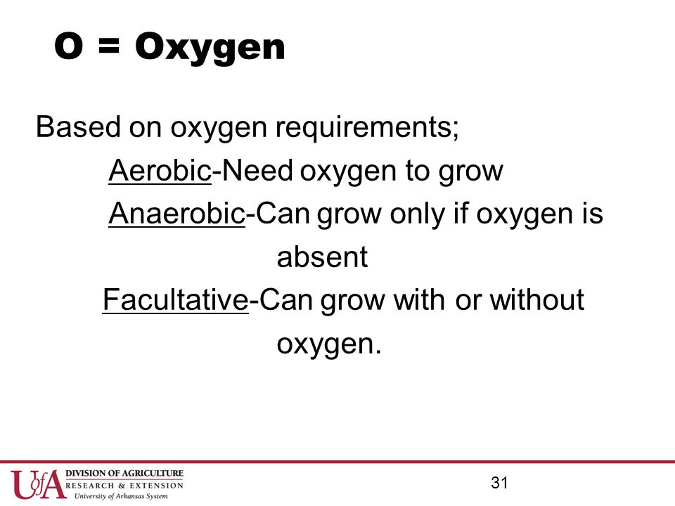 O = Oxygen Based on oxygen requirements; Aerobic-Need oxygen to grow