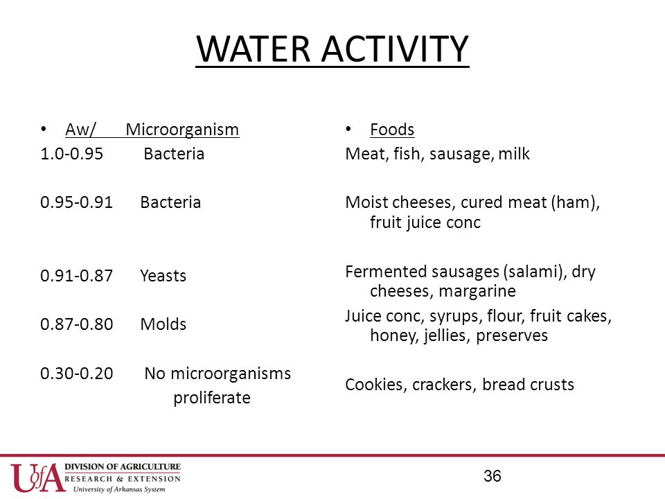 WATER ACTIVITY Aw/ Microorganism 1.0-0.95 Bacteria 0.95-0.91 Bacteria