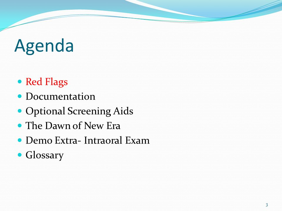 Agenda Red Flags Documentation Optional Screening Aids