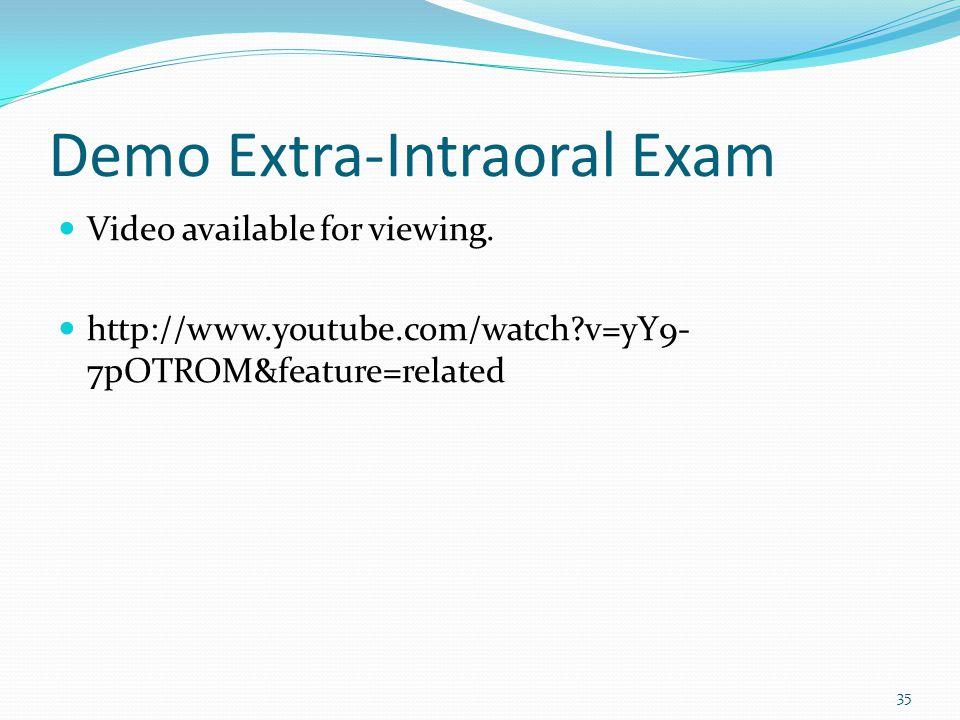 Demo Extra-Intraoral Exam