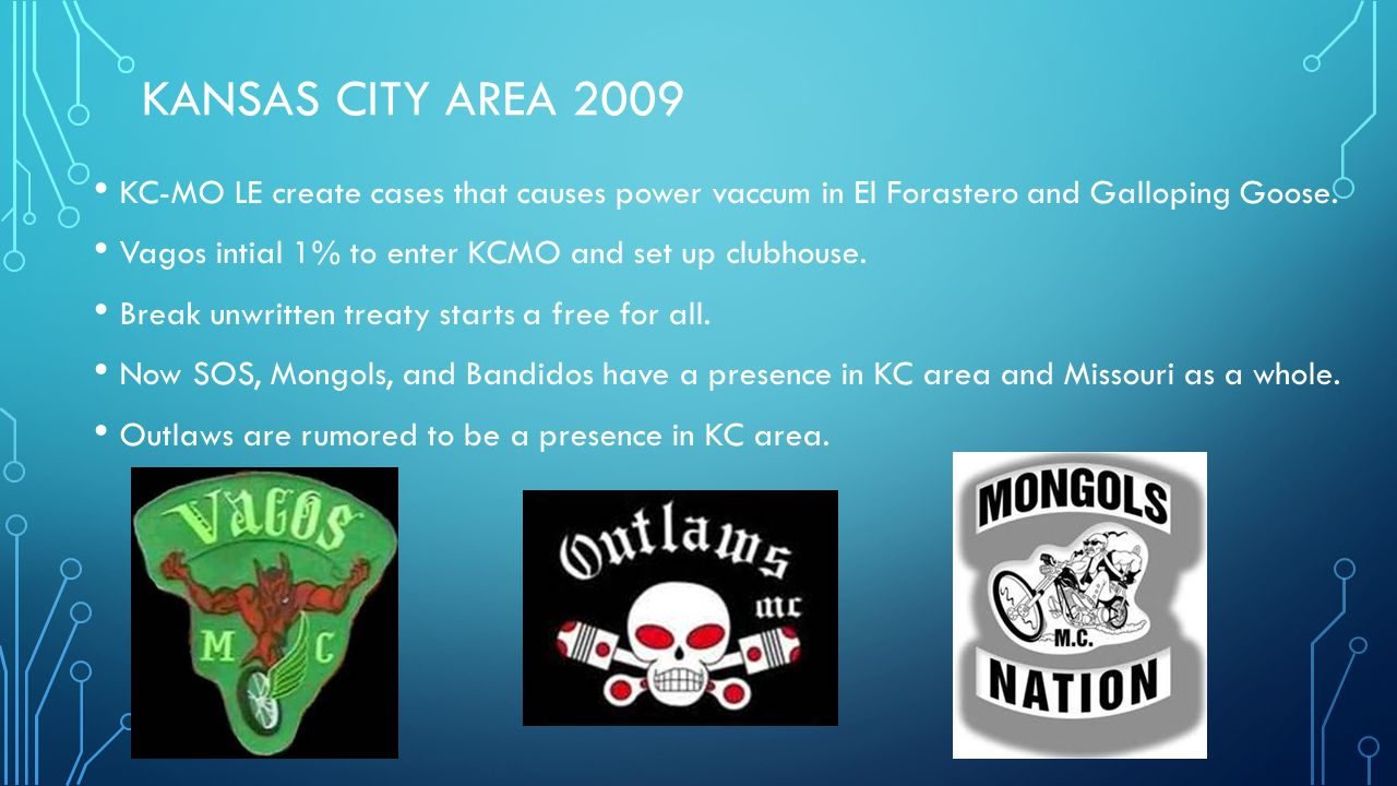 Kansas City Area 2009 KC-MO LE create cases that causes power vaccum in El Forastero and Galloping Goose.