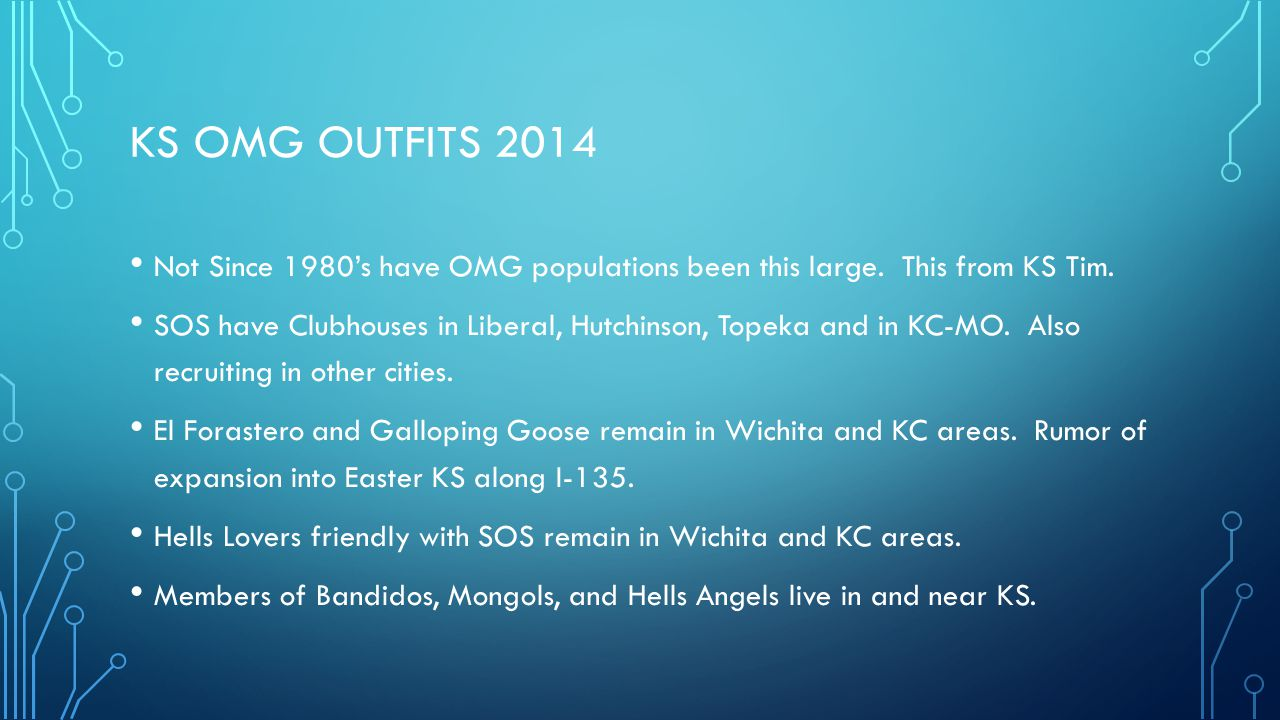 KS OMG Outfits 2014 Not Since 1980's have OMG populations been this large. This from KS Tim.