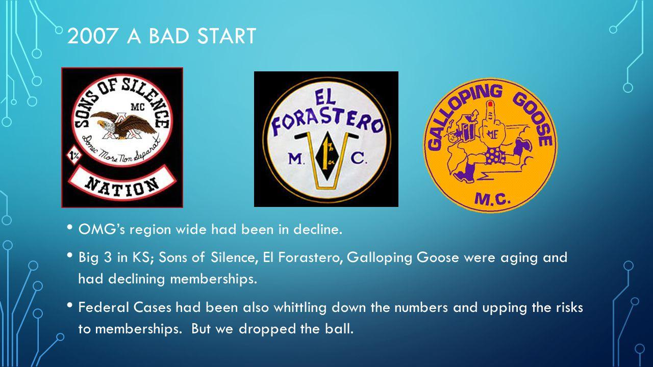 2007 A Bad Start OMG's region wide had been in decline.