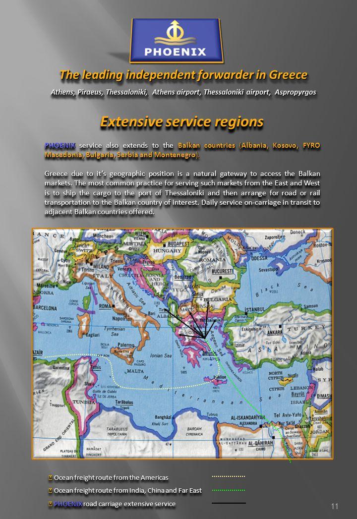 Extensive service regions