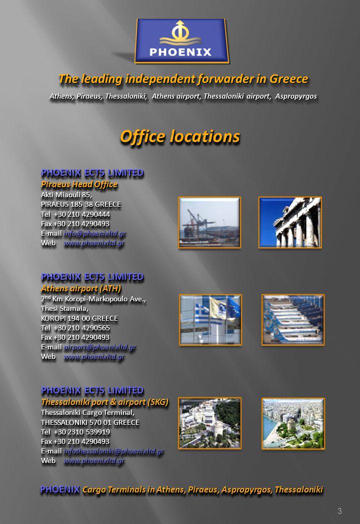 PHOENIX Cargo Terminals in Athens, Piraeus, Aspropyrgos, Thessaloniki