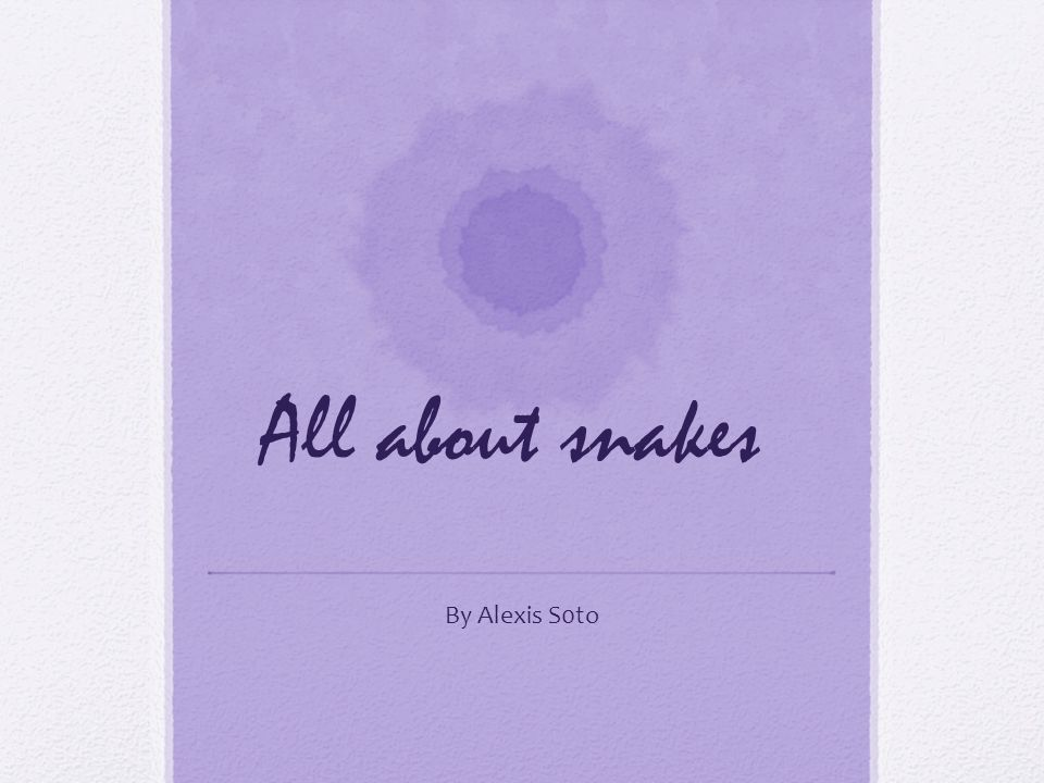 All about snakes By Alexis S0to