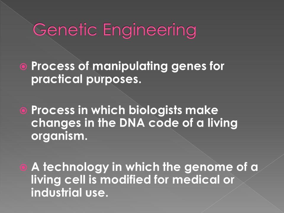 Genetic Engineering Process of manipulating genes for practical purposes.