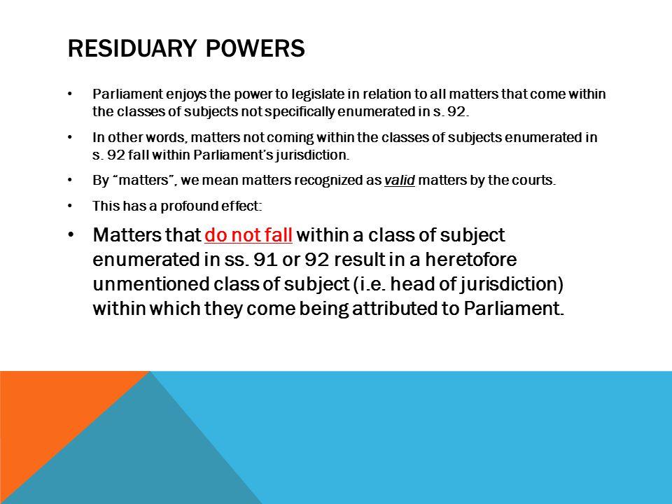 Residuary powers