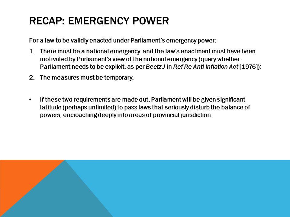 Recap: Emergency Power