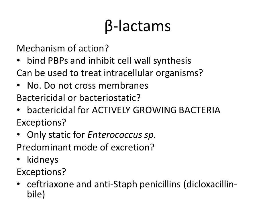 β-lactams Mechanism of action