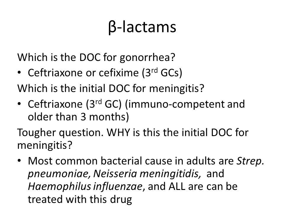 β-lactams Which is the DOC for gonorrhea