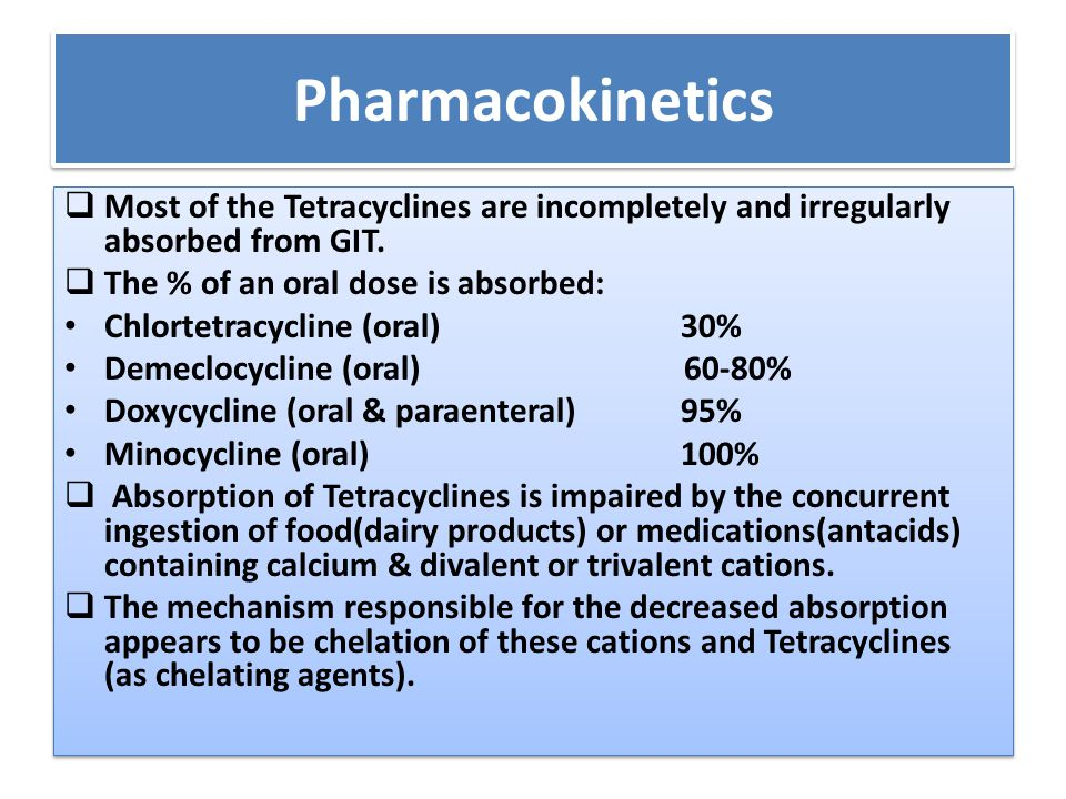 Pharmacokinetics Most of the Tetracyclines are incompletely and irregularly absorbed from GIT. The % of an oral dose is absorbed: