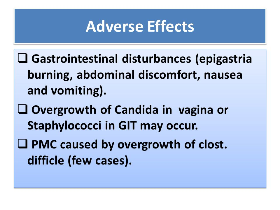 Adverse Effects Gastrointestinal disturbances (epigastria burning, abdominal discomfort, nausea and vomiting).
