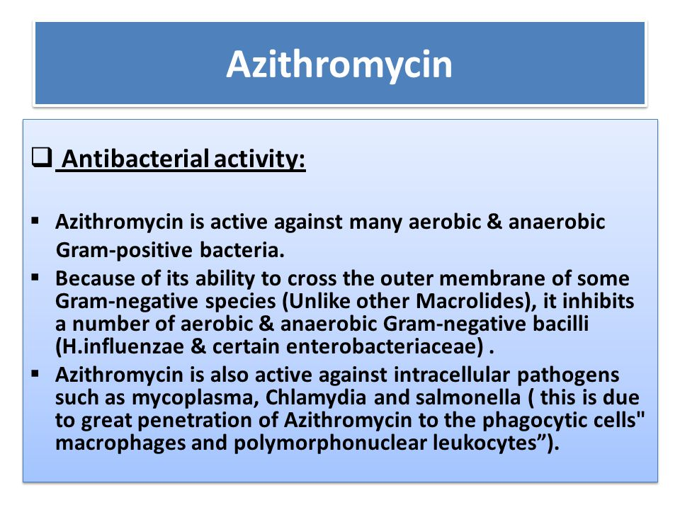 Azithromycin Antibacterial activity: