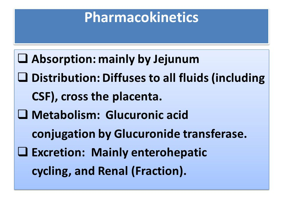 Pharmacokinetics Absorption: mainly by Jejunum