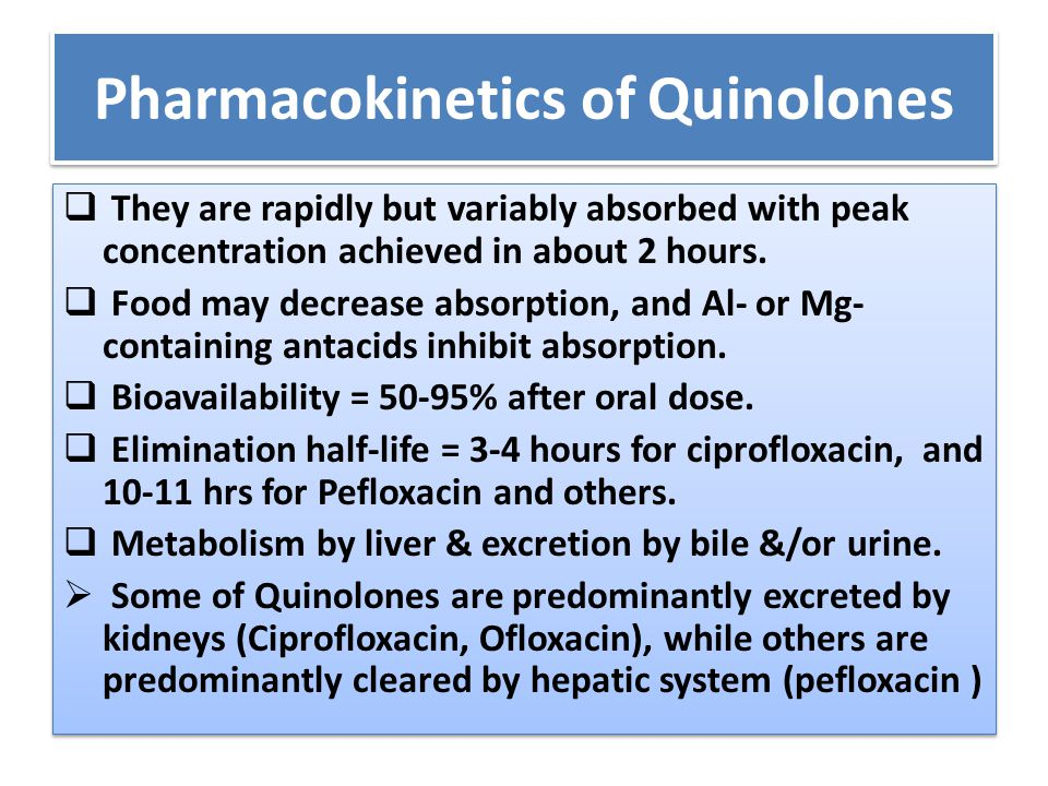 Pharmacokinetics of Quinolones