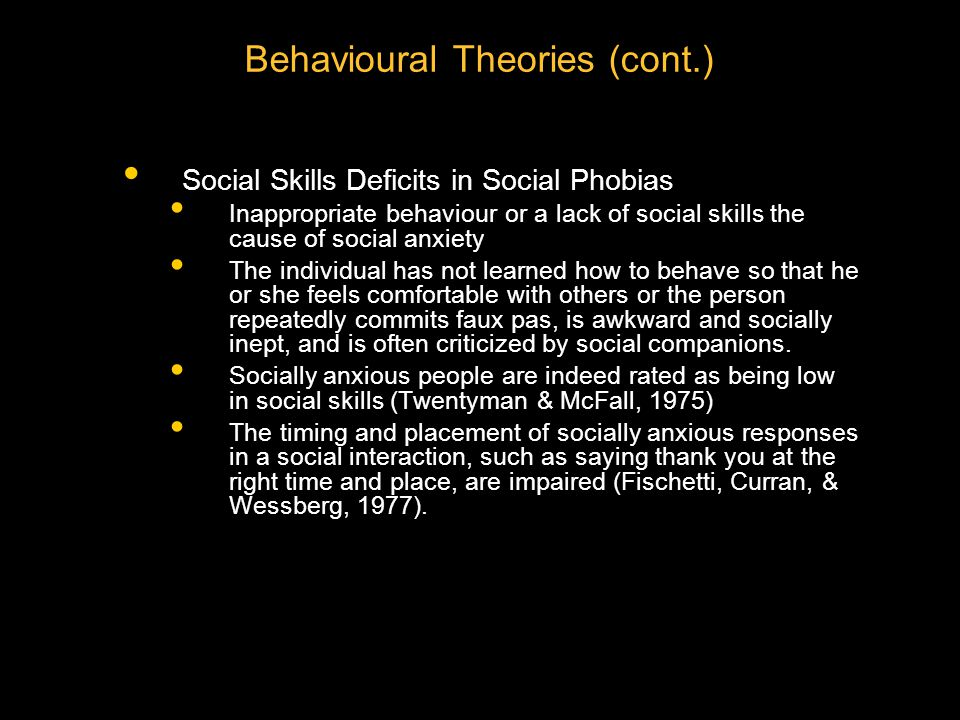 Behavioural Theories (cont.)