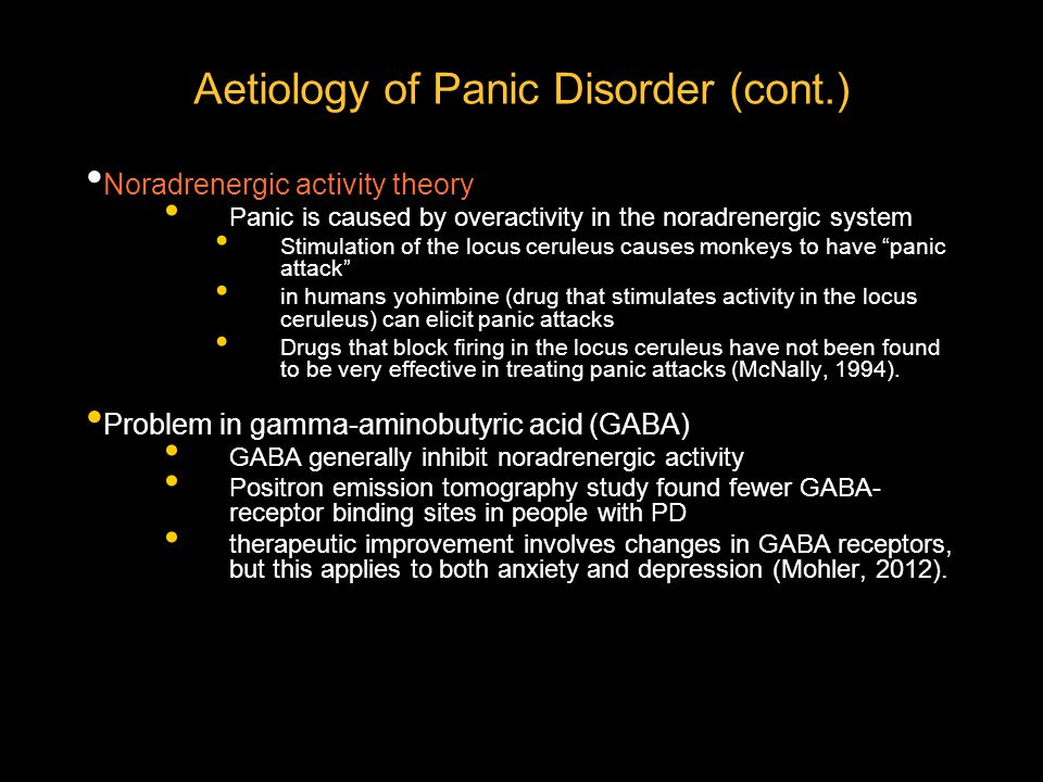 Aetiology of Panic Disorder (cont.)